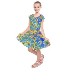 Color Particle Background Kids  Short Sleeve Dress by Nexatart