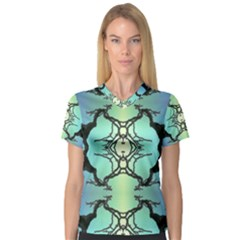 Branches With Diffuse Colour Background Women s V Neck Sport Mesh Tee