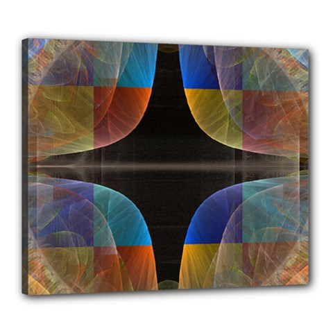 Black Cross With Color Map Fractal Image Of Black Cross With Color Map Canvas 24  X 20