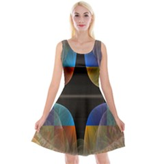 Black Cross With Color Map Fractal Image Of Black Cross With Color Map Reversible Velvet Sleeveless Dress by Nexatart