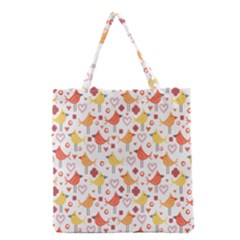 Happy Birds Seamless Pattern Animal Birds Pattern Grocery Tote Bag