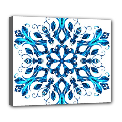 Blue Snowflake On Black Background Deluxe Canvas 24  X 20   by Nexatart