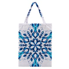 Blue Snowflake On Black Background Classic Tote Bag