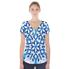 Blue Snowflake On Black Background Short Sleeve Front Detail Top