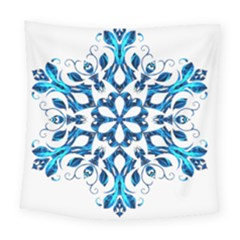 Blue Snowflake On Black Background Square Tapestry (large) by Nexatart