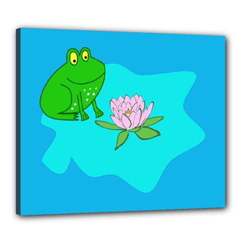 Frog Flower Lilypad Lily Pad Water Canvas 24  X 20  by Nexatart