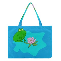 Frog Flower Lilypad Lily Pad Water Medium Tote Bag by Nexatart