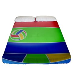 Balloon Volleyball Ball Sport Fitted Sheet (queen Size) by Nexatart