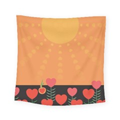 Love Heart Valentine Sun Flowers Square Tapestry (small) by Nexatart