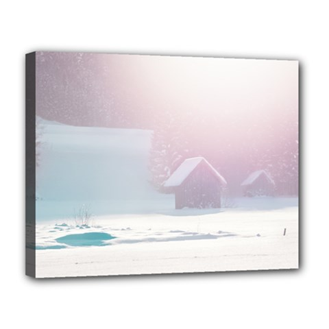 Winter Day Pink Mood Cottages Canvas 14  X 11  by Nexatart