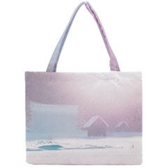 Winter Day Pink Mood Cottages Mini Tote Bag by Nexatart