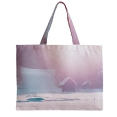 Winter Day Pink Mood Cottages Zipper Mini Tote Bag