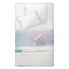 Winter Day Pink Mood Cottages Duvet Cover (single Size) by Nexatart