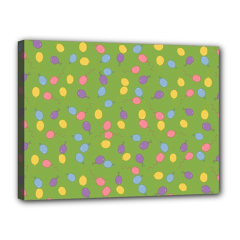Balloon Grass Party Green Purple Canvas 16  X 12