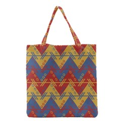 Aztec South American Pattern Zig Zag Grocery Tote Bag