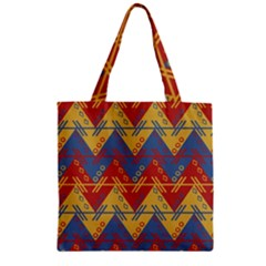 Aztec South American Pattern Zig Zag Zipper Grocery Tote Bag by Nexatart