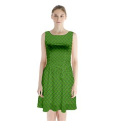 Paper Pattern Green Scrapbooking Sleeveless Chiffon Waist Tie Dress by Nexatart