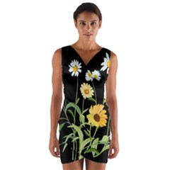 Flowers Of The Field Wrap Front Bodycon Dress