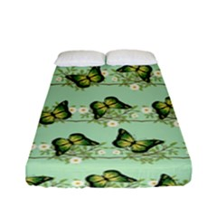 Green Butterflies Fitted Sheet (full/ Double Size) by linceazul