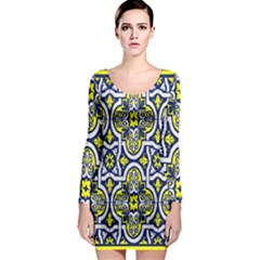 Tiles Panel Decorative Decoration Long Sleeve Bodycon Dress by Nexatart