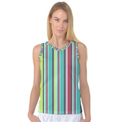Colorful Striped Background  Women s Basketball Tank Top by TastefulDesigns
