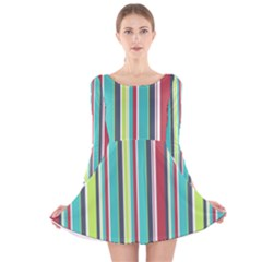 Colorful Striped Background  Long Sleeve Velvet Skater Dress by TastefulDesigns