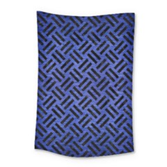 Woven2 Black Marble & Blue Brushed Metal (r) Small Tapestry by trendistuff