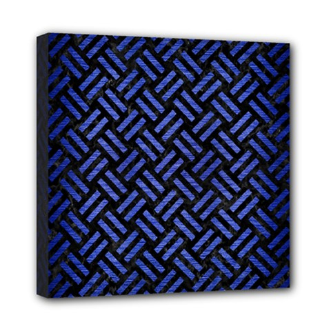 Woven2 Black Marble & Blue Brushed Metal Mini Canvas 8  X 8  (stretched) by trendistuff