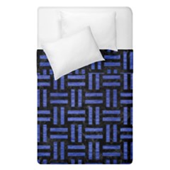 Woven1 Black Marble & Blue Brushed Metal Duvet Cover Double Side (single Size) by trendistuff