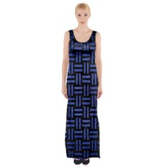 Woven1 Black Marble & Blue Brushed Metal Maxi Thigh Split Dress by trendistuff