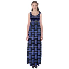 Woven1 Black Marble & Blue Brushed Metal Empire Waist Maxi Dress by trendistuff