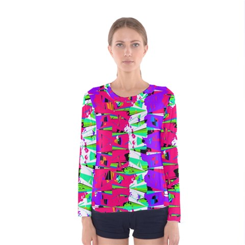 Colorful Glitch Pattern Design Women s Long Sleeve Tee by dflcprintsclothing