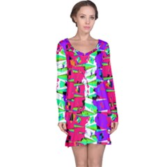 Colorful Glitch Pattern Design Long Sleeve Nightdress by dflcprintsclothing