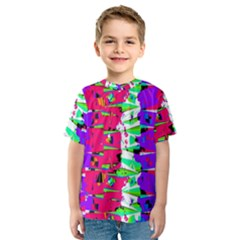 Colorful Glitch Pattern Design Kids  Sport Mesh Tee by dflcprintsclothing