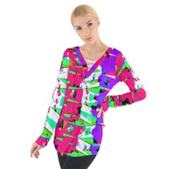 Colorful Glitch Pattern Design Women s Tie Up Tee by dflcprintsclothing