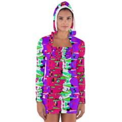 Colorful Glitch Pattern Design Women s Long Sleeve Hooded T-shirt by dflcprintsclothing
