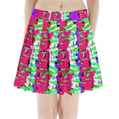 Colorful Glitch Pattern Design Pleated Mini Skirt by dflcprintsclothing