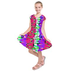 Colorful Glitch Pattern Design Kids  Short Sleeve Dress by dflcprintsclothing