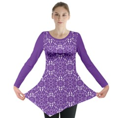 Purple With White Pagan Pentacles Wiccan Long Sleeve Tunic