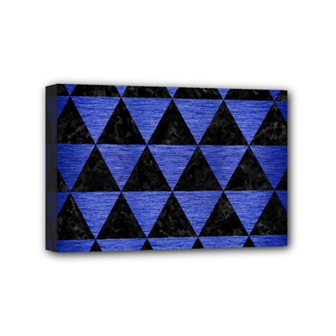 Triangle3 Black Marble & Blue Brushed Metal Mini Canvas 6  X 4  (stretched) by trendistuff