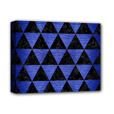 Triangle3 Black Marble & Blue Brushed Metal Deluxe Canvas 14  X 11  (stretched) by trendistuff