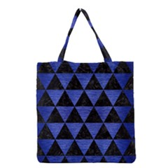 Triangle3 Black Marble & Blue Brushed Metal Grocery Tote Bag by trendistuff