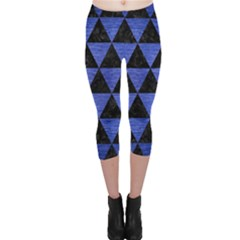 Triangle3 Black Marble & Blue Brushed Metal Capri Leggings  by trendistuff