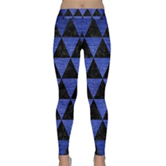 Triangle3 Black Marble & Blue Brushed Metal Classic Yoga Leggings by trendistuff