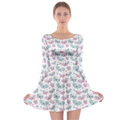 Cute Pastel Butterflies Long Sleeve Skater Dress