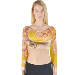 Yellow Marble Long Sleeve Crop Top by tarastyle