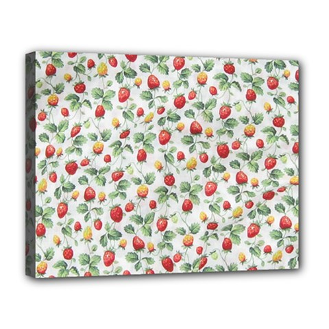 Strawberry Pattern Canvas 14  X 11  by Valentinaart