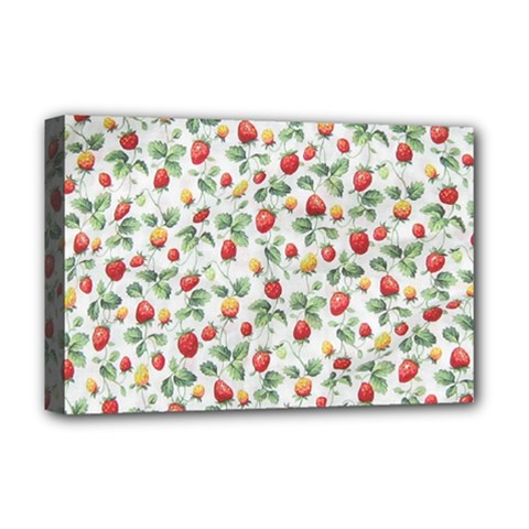Strawberry Pattern Deluxe Canvas 18  X 12   by Valentinaart