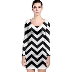 Black And White Chevron Long Sleeve Bodycon Dress