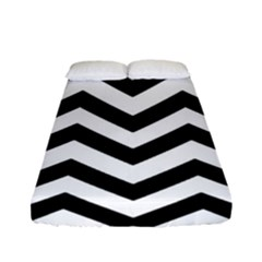 Black And White Chevron Fitted Sheet (Full/ Double Size)
